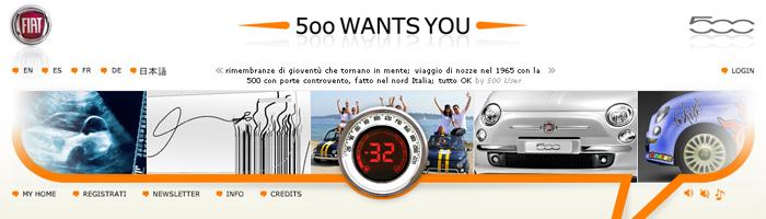 Il portale 500 Wants You in una delle sue versioni